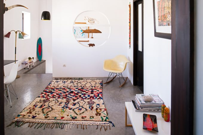 Moroccan Rugs at Emma Wilson's house, Sidi Kaouki, Essaouira, Photo by Alan Keohane www.still-images.net